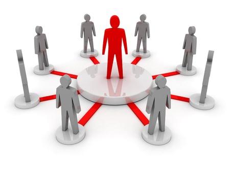 leiderschap: Teamleider. Bedrijf baas. Teamwork. Concept 3D illustratie Stockfoto