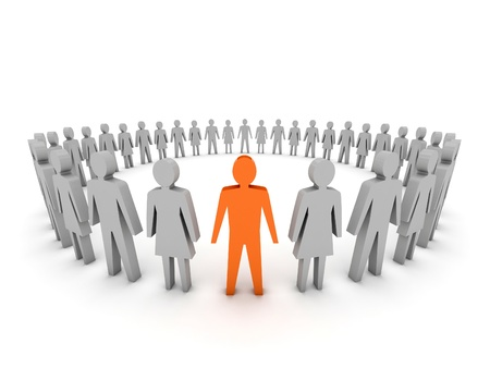 Unique. Group of People. Concept 3D illustration Stock Illustration - 18379687