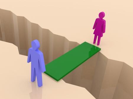 Mann und Frau auf Seiten aufgeteilt, Brücke durch Trennung crack. Konzept 3D-Darstellung. Lizenzfreie Bilder