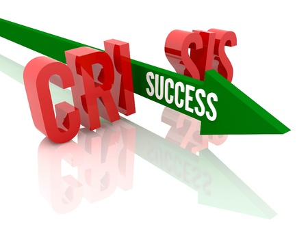 Arrow with word Success breaks word Crisis. Concept 3D illustration. illustration