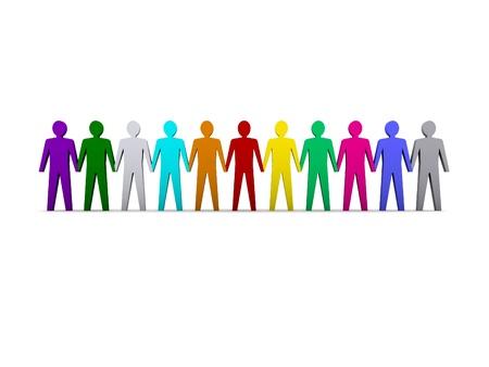 Gruppe von verschiedenen Personen. Konzept 3D-Darstellung