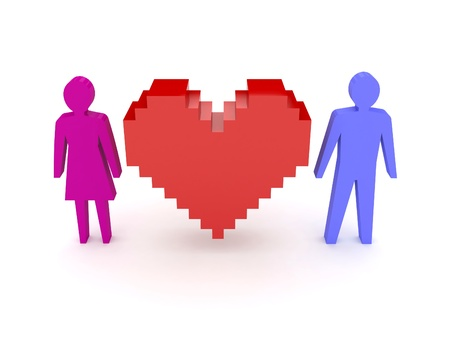 Heart with male and female figures on both sides. Concept 3D illustration. Stock Illustration - 18688519