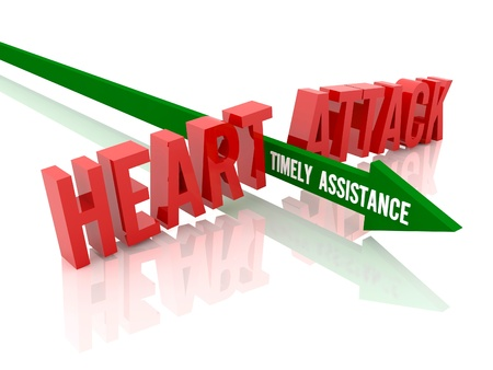 Arrow with phrase Timely Assistance breaks phrase Heart Attack. Concept 3D illustration. illustration