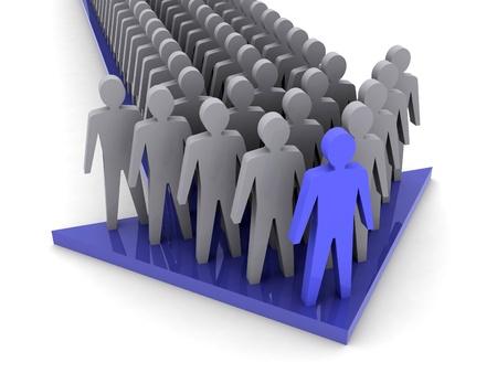 Teamleiter. Firmenchef. Teamwork. Konzept 3D-Darstellung