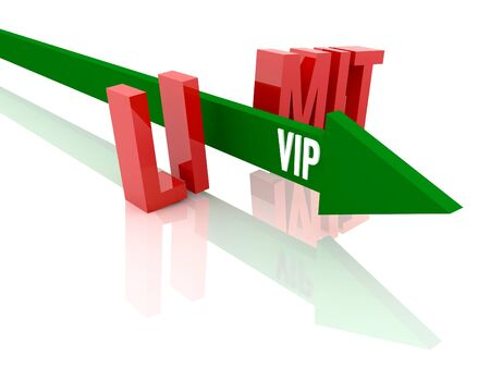 Arrow with word  VIP breaks word Limit. Concept 3D illustration. illustration
