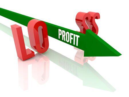 Arrow with word  Profit breaks word Loss. Concept 3D illustration. illustration
