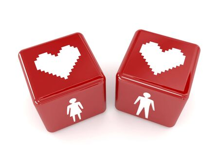 double the chances: Two hearts, male and female figures on dices. Concept 3D illustration. Stock Photo