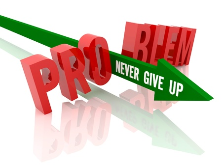 Arrow with phrase Never Give Up breaks word Problem. Concept 3D illustration. illustration