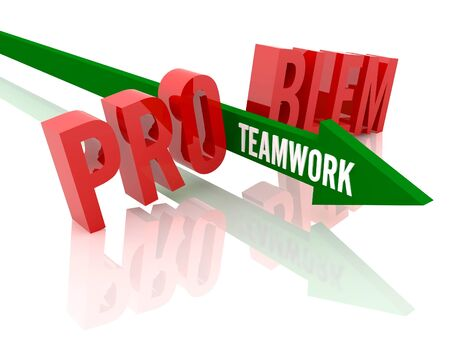 Arrow with word Teamwork breaks word Problem. Concept 3D illustration. illustration