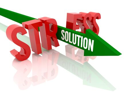 Arrow with word Solution breaks word Stress  Concept 3D illustration  illustration
