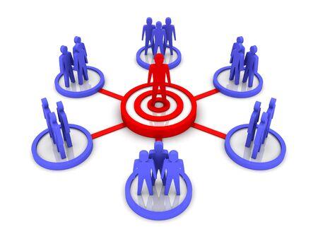 team leader: Business Network. Group leader. Concept 3D illustration.