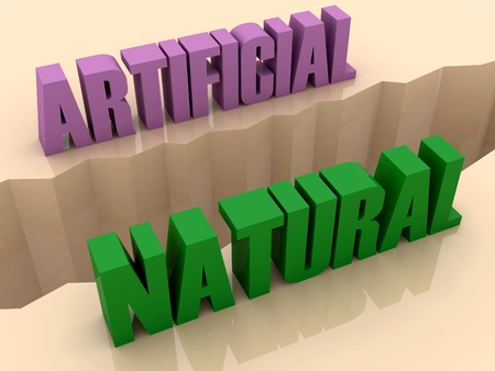 flaw: Two words ARTIFICIAL and NATURAL split on sides, separation crack. Concept 3D illustration. Stock Photo