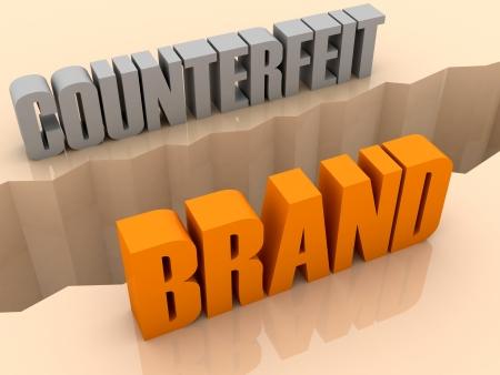 Twee woorden COUNTERFEIT en BRAND split aan de zijkanten, scheiding crack. Concept 3D illustratie. Stockfoto