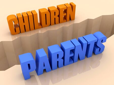 separation: Two words CHILDREN and PARENTS split on sides, separation crack. Concept 3D illustration.