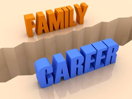 Two words FAMILY and CAREER split on sides, separation crack. Concept 3D illustration. Stock Illustration - 18984122