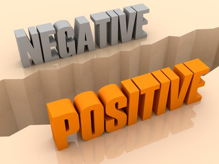 separation: Two words NEGATIVE and POSITIVE split on sides, separation crack. Concept 3D illustration. Stock Photo