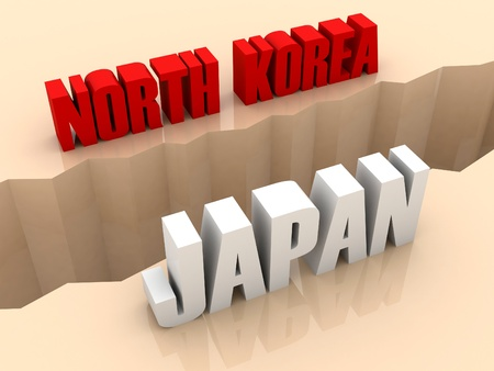 flaw: Two countries NORTH KOREA and JAPAN split on sides, separation crack. Concept 3D illustration.
