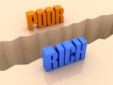 Two words POOR and RICH split on sides, separation crack. Concept 3D illustration.
