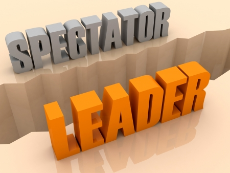 flaw: Two words SPECTATOR and LEADER split on sides, separation crack. Concept 3D illustration. Stock Photo