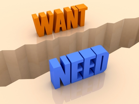 Zwei Worte wollen und brauchen Split an den Seiten, Trennriss. Konzept 3D-Darstellung.