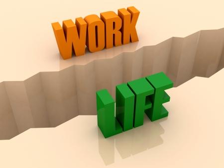 Two words WORK and LIFE split on sides, separation crack. Concept 3D illustration.
