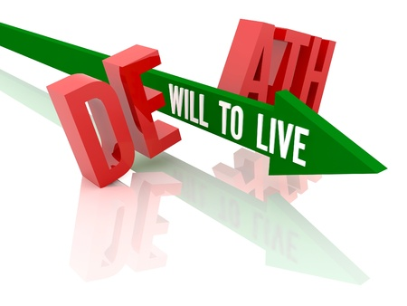 Arrow with phrase Will to Live breaks word Death. Concept 3D illustration. illustration