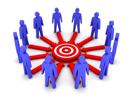 towards: Group of 3D people working towards a common target. Concept illustration. Stock Photo