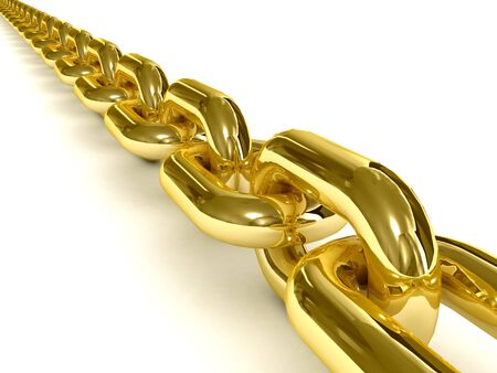 chain link: Golden chain over white background. 3D Concept illustration.