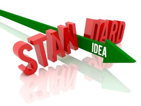 Arrow with word Idea breaks word Standard. Concept 3D illustration.