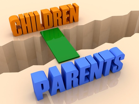 Two words CHILDREN and PARENTS united by bridge through separation crack. Concept 3D illustration. Stock Photo
