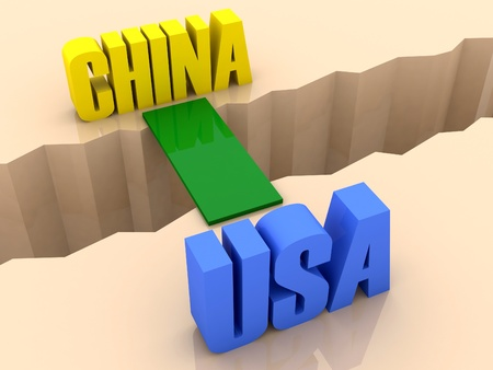 flaw: Two countries CHINA and USA united by bridge through separation crack. Concept 3D illustration. Stock Photo