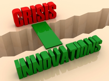 separation: Two words CRISIS and INNOVATIONS united by bridge through separation crack. Concept 3D illustration.