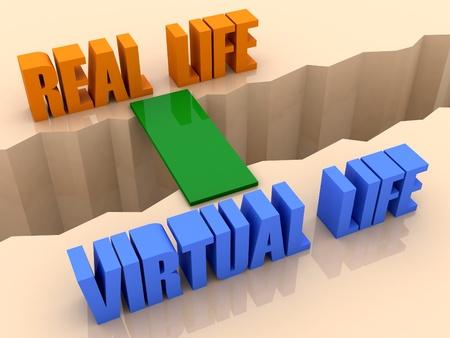 Twee zinnen REAL LIFE en virtuele leven verbonden door brug door scheiding crack. Concept 3D illustratie. Stockfoto