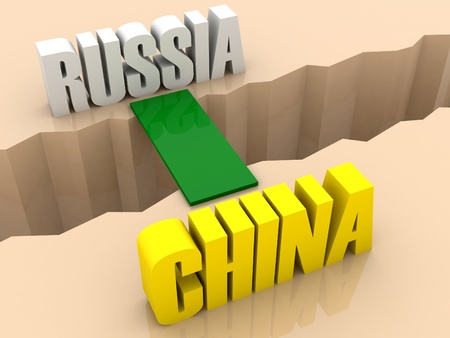 separation: Two countries RUSSIA and CHINA united by bridge through separation crack. Concept 3D illustration.