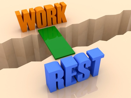 Two words WORK and RESTunited by bridge through separation crack. Concept 3D illustration. illustration