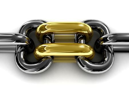 Double gold chain link. Concept 3D illustration. illustration