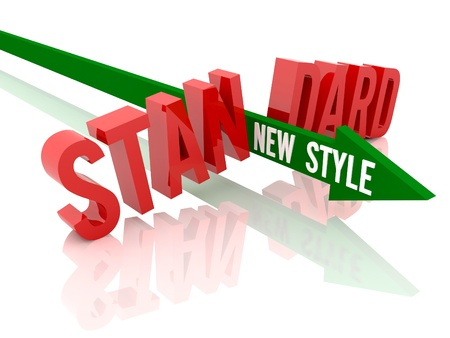 Arrow with phrase New Style breaks word Standard. Concept 3D illustration. illustration