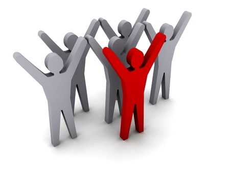 teamwork: Team success. Leadership. Concept 3D illustration.