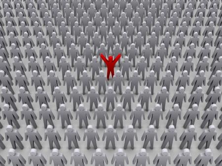 Unique person in crowd. Concept 3D illustration Stock Illustration - 19138172