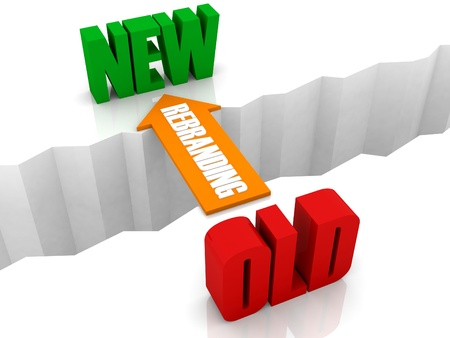 Rebranding is de brug van oud naar nieuw. Concept 3D illustratie.