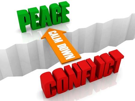 calm down: Calmati � il ponte dal conflitto alla pace. Illustrazione di concetto 3D. Archivio Fotografico