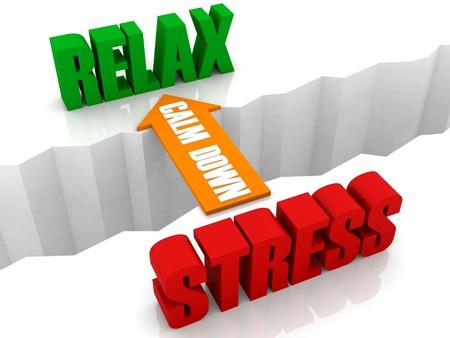calm down: Calmati � il ponte di stress per rilassarsi. Illustrazione di concetto 3D.