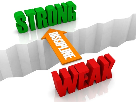 Discipline is the bridge from WEAK to STRONG. Concept 3D illustration. Фото со стока