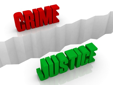 flaw: Two words CRIME and JUSTICE split on sides, separation crack. Concept 3D illustration. Stock Photo