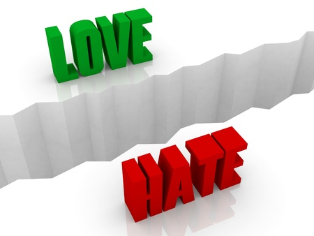 separation: Two words LOVE and HATE split on sides, separation crack. Concept 3D illustration. Stock Photo