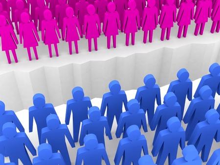 separation: Men and women split on sides, separation crack. Concept 3D illustration.