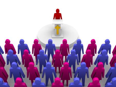 Sermon in church. Pastor, preacher Concept 3D illustration. Stock Photo