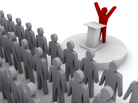 politican: Leader speaking to crowd. Concept 3D illustration.