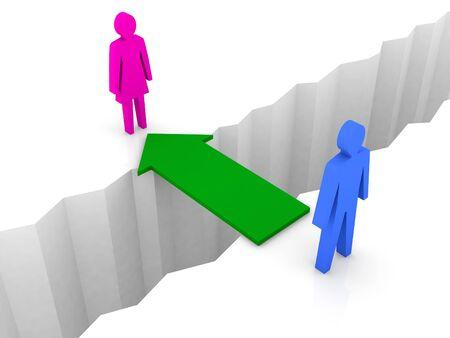 reconciliation: Bridge from man to woman through separation crack. Concept 3D illustration.