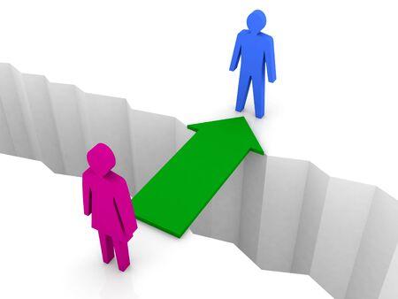 Bridge from woman to man through separation crack. Concept 3D illustration.  illustration